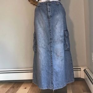 Calvin Klein Jeans Maxi Skirt Cargo Pockets Denim